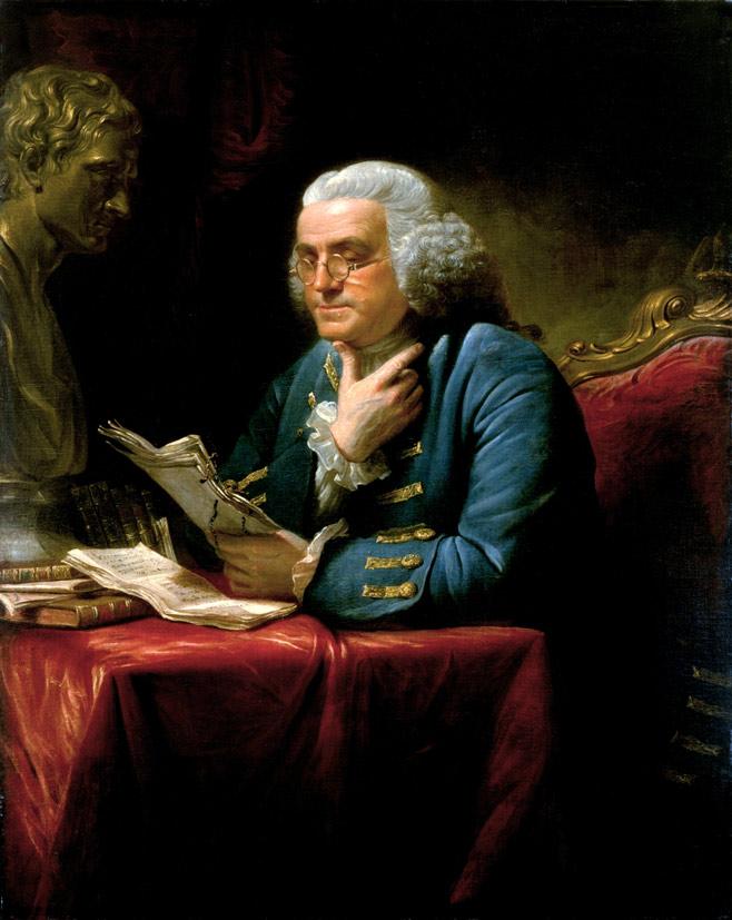 Benjamin-Franklin-Portrait-am-Schreibtisch