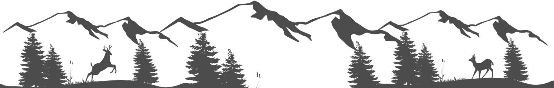 Alpenszene als schwarz weiße Silhouette