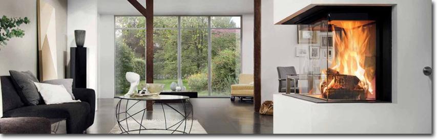 Ambientebild mit weißem Kaminofen im Raum