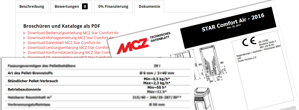 Bildausschnitt mit Onlineshop, technisches Datenblatt und Auszug des technischen Datenblattes von MCZ Star 2.0 Air