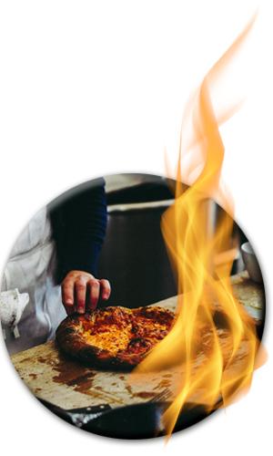 verbrannte Pizza