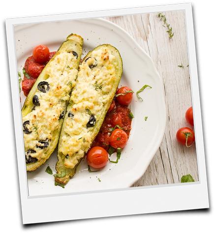 gefüllte Zucchinihälften