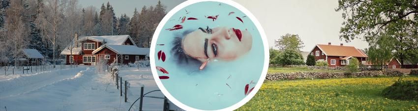 Collage zur Verbildlichung Badefass im Winter und im Sommer nutzen