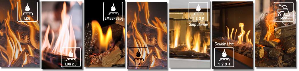 Collage der Flammenbilder bei den unterschiedlichen Brenner-Technologien der Firma Farber