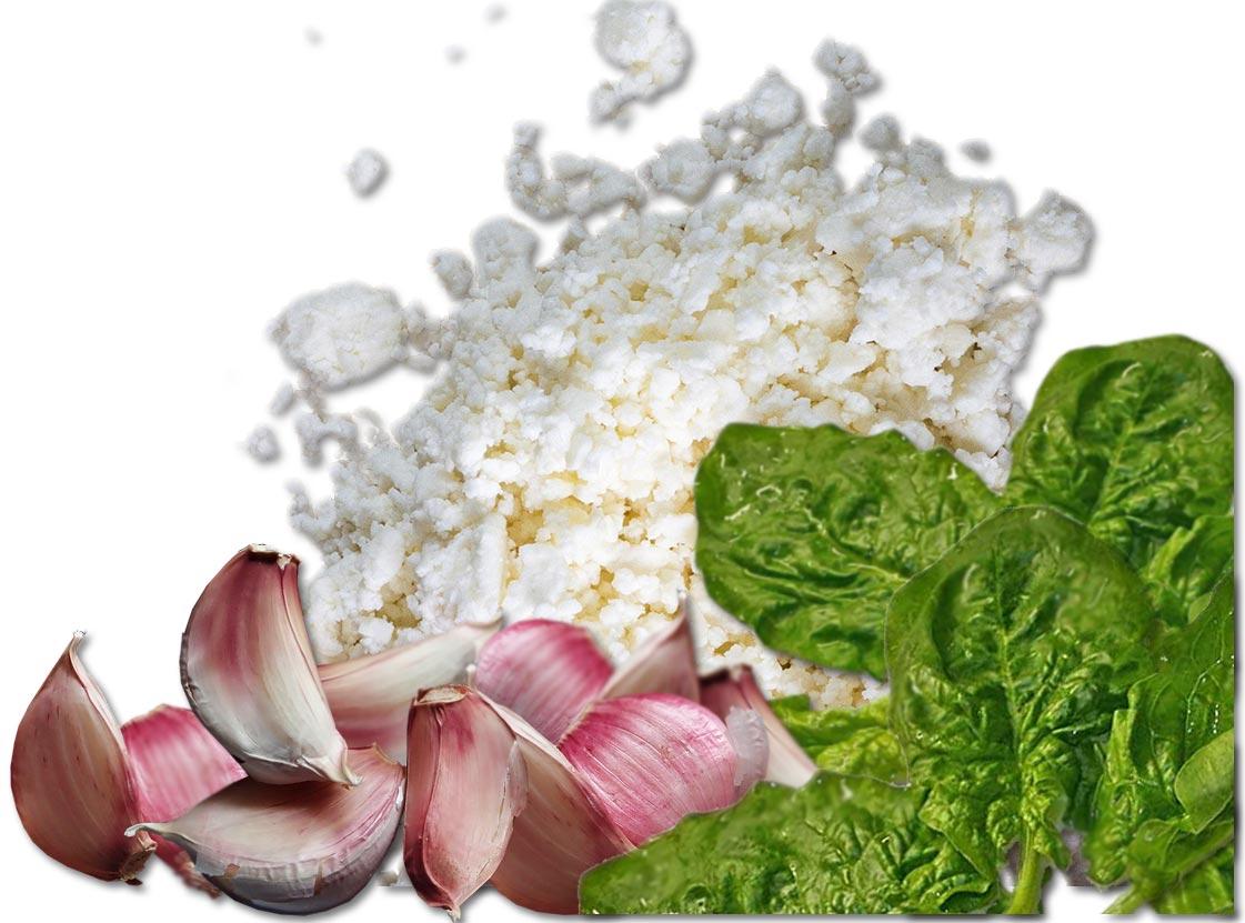 Zutaten Knoblauch, Schafskäse und Spinat
