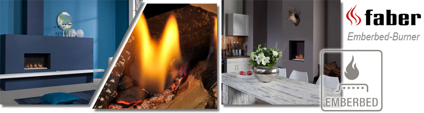 Collage mit Einbau-Gaskaminen mit Emberbed Burner Technologie