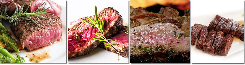 Bildfolge der 4 unterschiedlichen Gargrade bei gegrilltem Fleisch