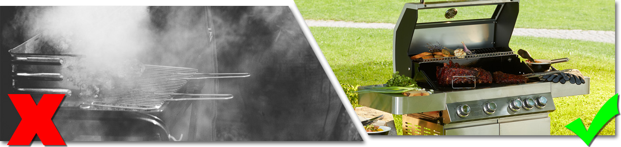 Bildfolge qualmender Holzkohlegrill vs. sauberer Gasgrill