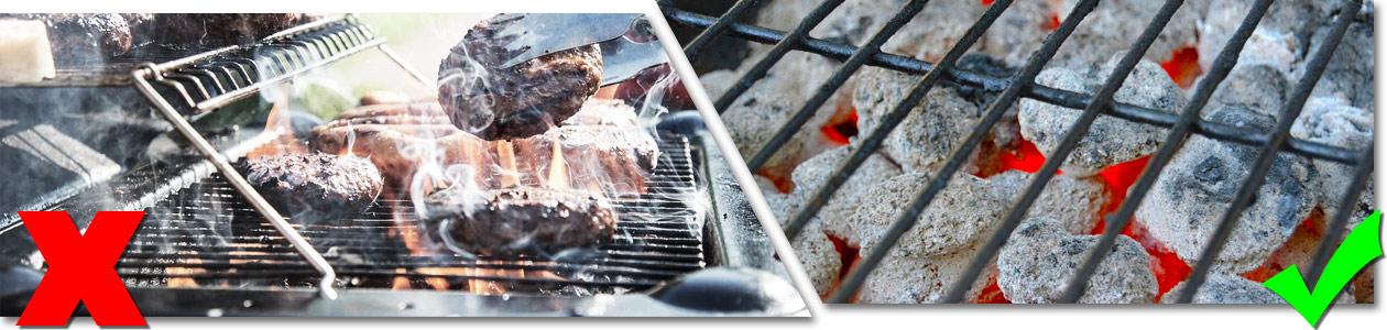 Bildfolge Falsch Grillgut über Flammen und Rauch - Richtig Grillkohle gut durchglühen lassen