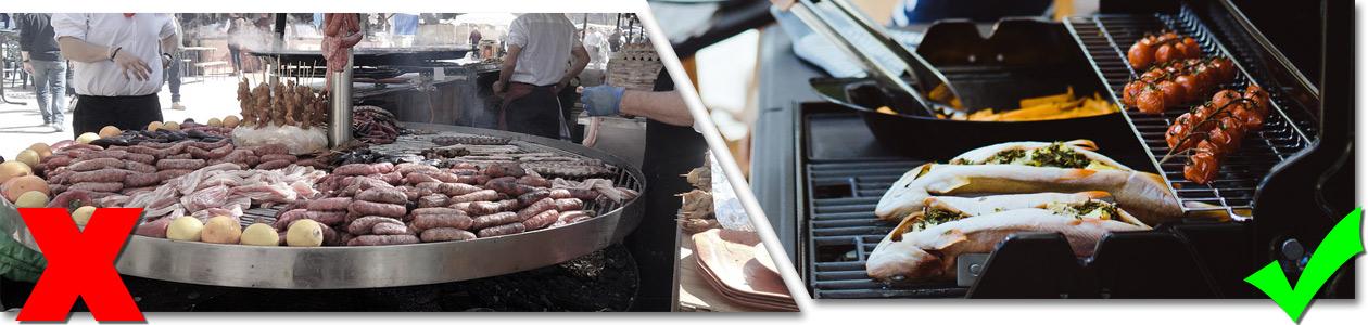 Bildfolge zu viel Fleisch vs Fisch und Gemüse vom Grill