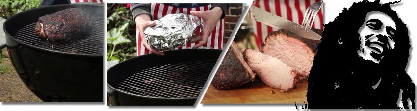 Bildfolge eines gelungenen Jerk Pork