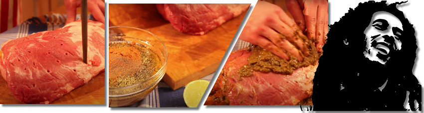 Bildfolge Fleisch mit Marinade vermählen