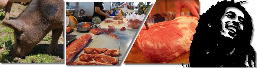 Bildfolge das richtige Stück Schweinefleisch wählen