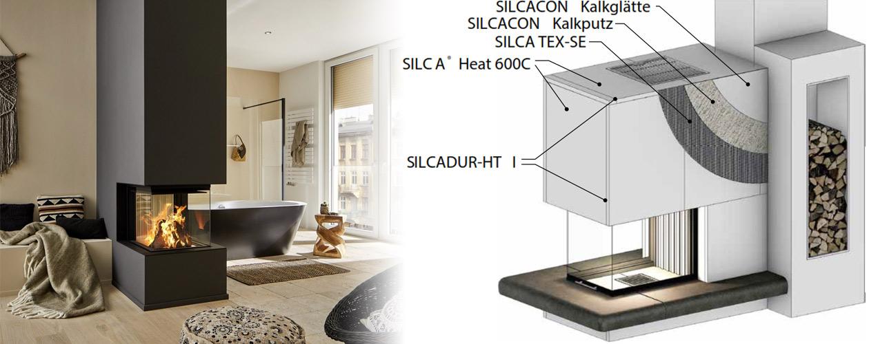 Kamin verkleiden - Schema verwendete Silca Baustoffe
