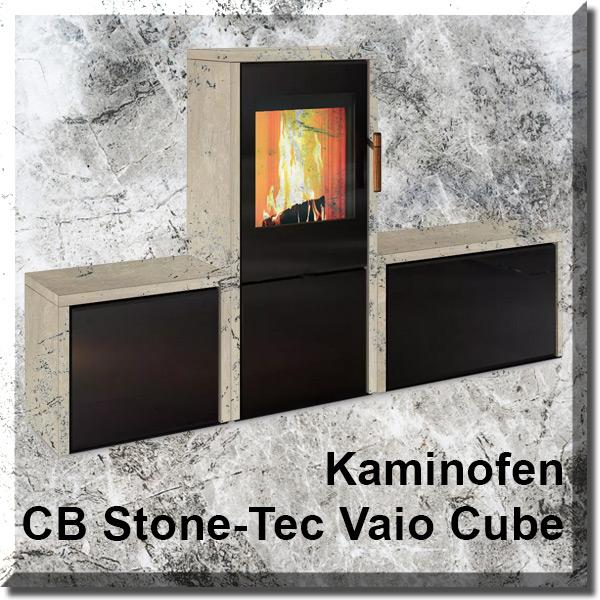 Foto des Kaminofens Vaio Cube auf Marmorplatte