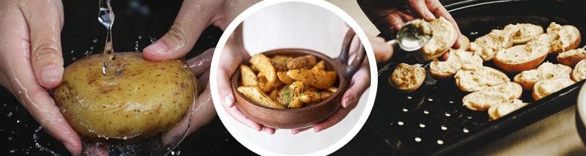 Bildfolge Kartoffelspalten vom Grill