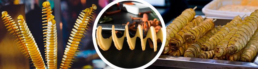 Bildfolge gegrillte Kartoffelspiralen