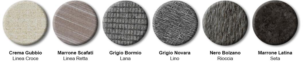 6 Stein- und Oberflächen-Beispiele der Marke LivingSkin
