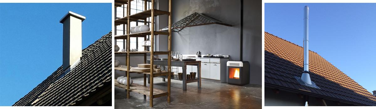 Bildfolge eines Leichtbauschornsteins, Pelletofens in der Großküche und eines Edelstahlschornsteins