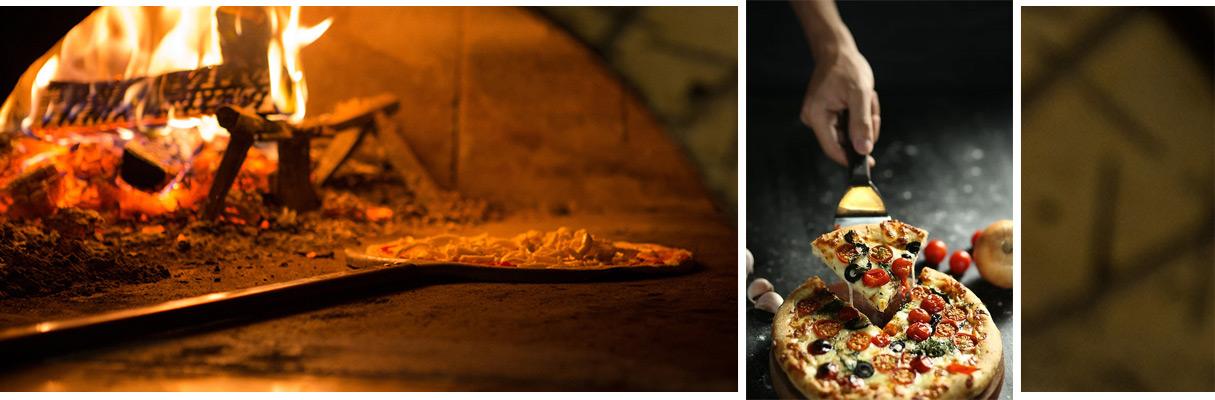 in den Ofen geschobene Pizza und Seviervorschlag einer Pizza