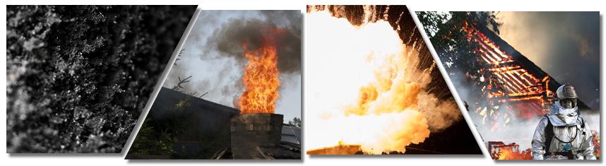 Bildcollage zum Thema Schornsteinbrand