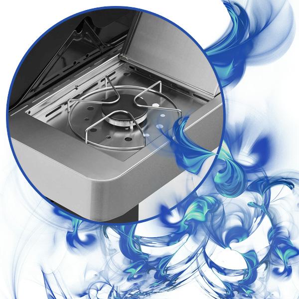 Bild des Rösle Seitenkochers, umrahmt von blauen Flammen
