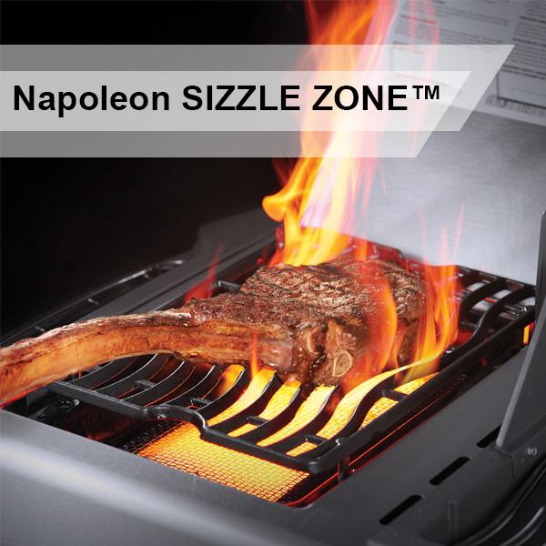 Nahaufnahme der SizzleZone Grillfläche eines Napoleon Grills in Aktion