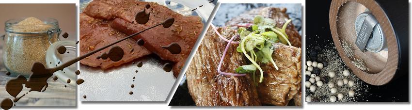 Bildfolge Mariniertes Flank Steak und Flank Steak mit Salz und Pfeffer
