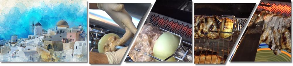 Bildfolge der Zubereitung des Gyros als Grillspießgericht