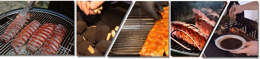 Die Rippchen vom Grill werden mit einer Wasserschale und Räucherchips im Grill zubereitet
