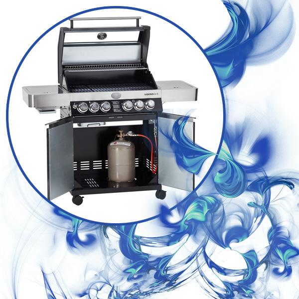 Bild eines geöffneten Rösle Gasgrill Videro G4-S, umrahmt von blauen Flammen
