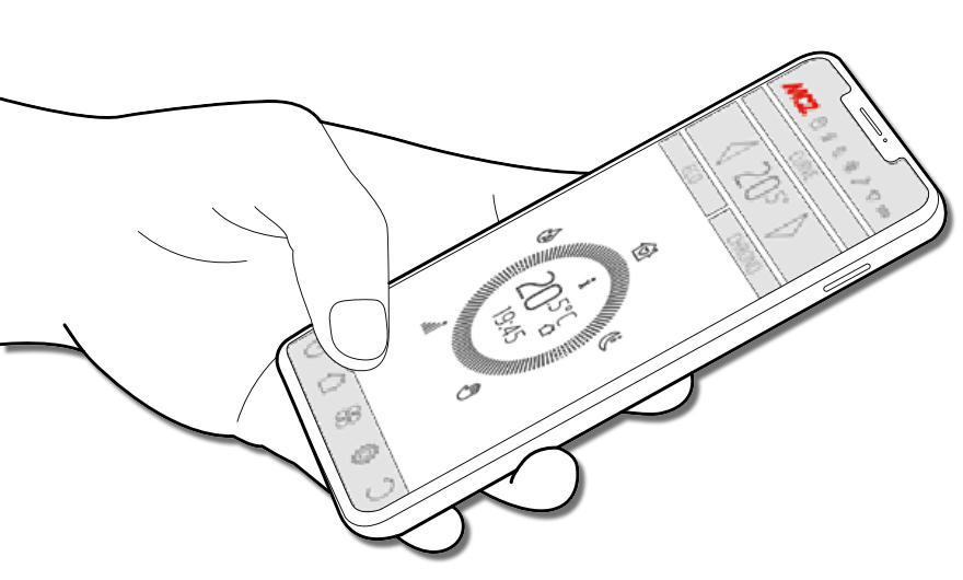 gezeichnete Smartphone führende Hand mit der MCZ Maestro-App