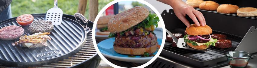 Bildfolge mediterranen Cheeseburger zusammenstellen