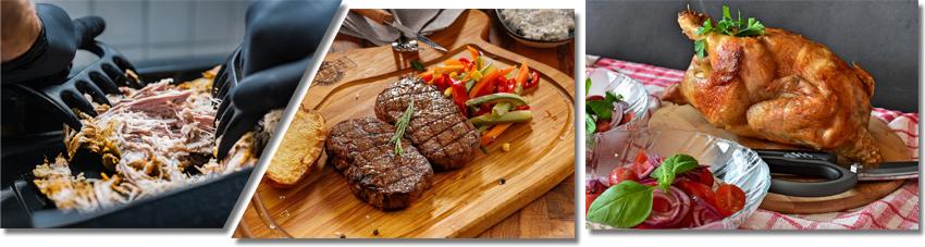 Bildfolge verschiedener Fleisch- und Zubereitungsarten