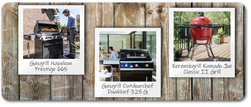 Polaroidbilder beliebter Grillmarken auf einer Holzplatte