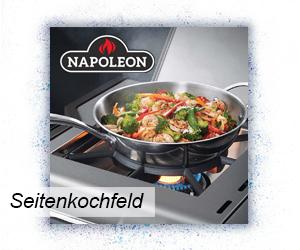 Napoleon Grill mit Seitenkochfeld in Benutzung