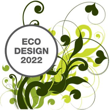 Eco-Design Logo mit hinterlegtem grünen floralen Muster