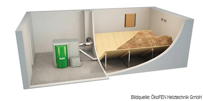 Pelletheizung-mit-Förderschnecke-und-Lager