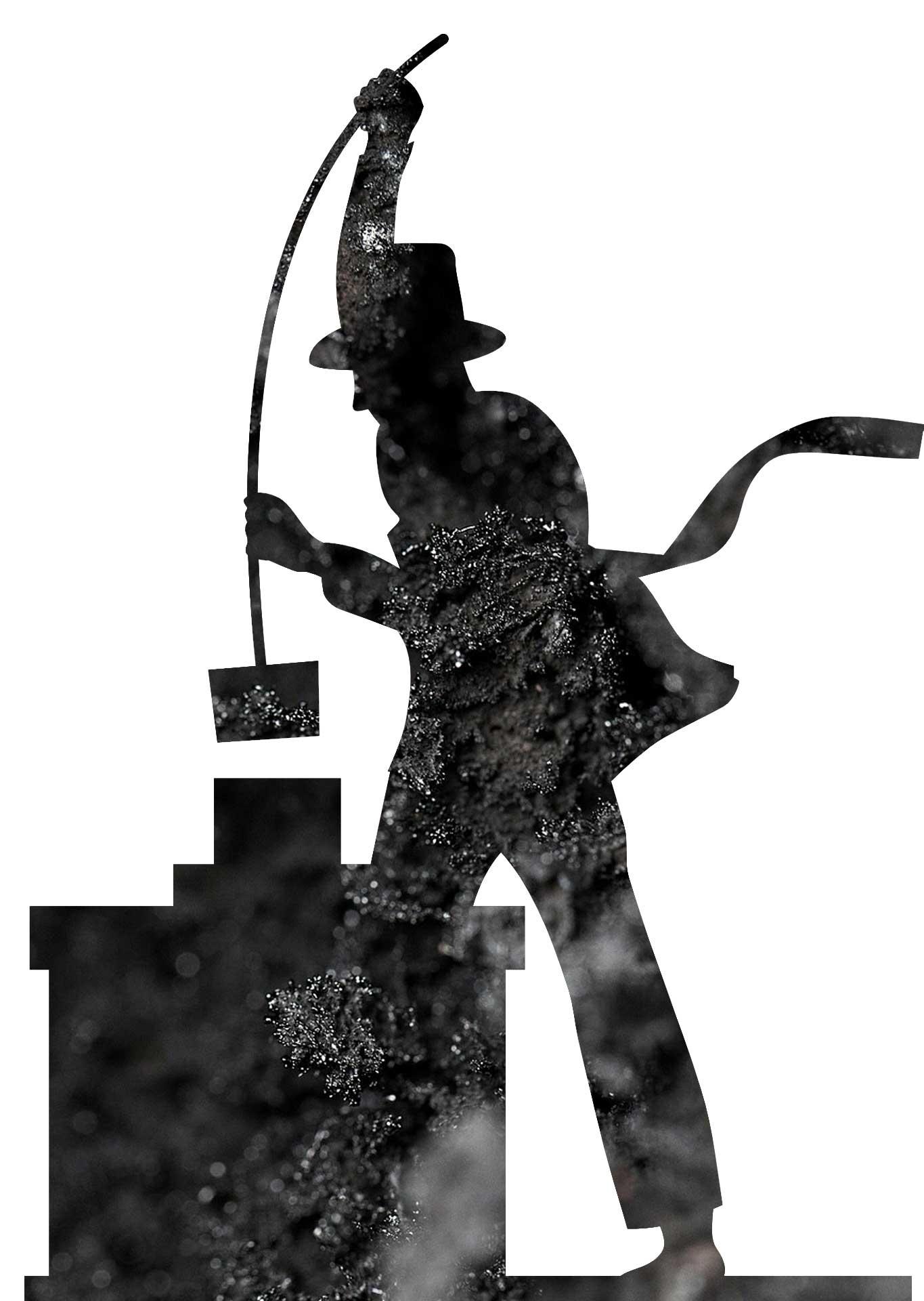 Silhouette eines arbeitenden Schornsteinfegers