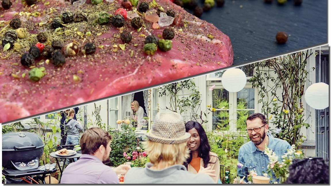 Collage mit einem gewürzten rohen Steak und einem Ambientebild einer Grillparty unter Freunden
