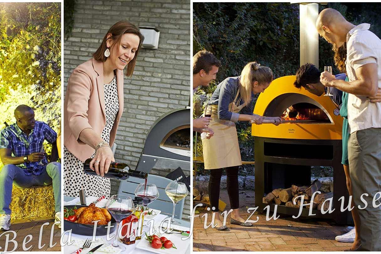 Collage Pizzaofen , gedeckte Tafel und unter Freunden