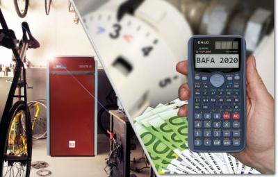 Collage aus Pelletheizung, Geld, Taschenrechner und Thermostat