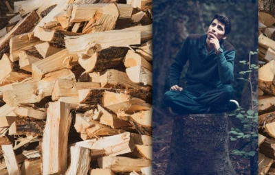 Mann überlegt wie er Holz trocknet