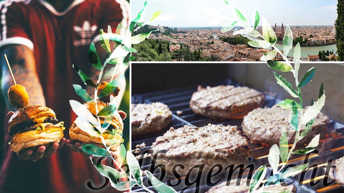 Collage mit einem Fußballfan der Cheeseburger hält, einem Panorama der Stadt Verona und brutzelnden Burgerpatties
