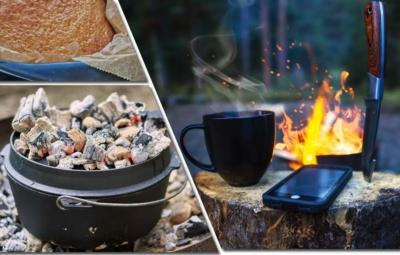 Collage mit einem fertigem Duch Oven Brot, einem mit Glut bedeckten Duch Oven und einer Lagerfeuerszene in der Dämmerung