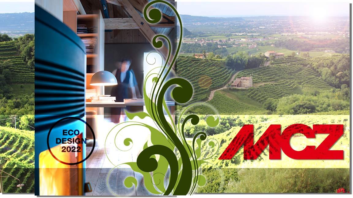Collage mit einem Landschaftsbild von Treviso, dem Pelletofen Ego und dem Logo von MCZ