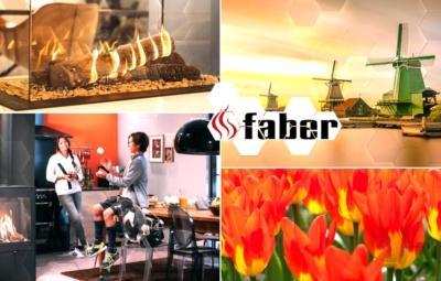 Collage aus typisch niederländischen Ambientebildern und Gaskaminen des Ofenherstellers Faber