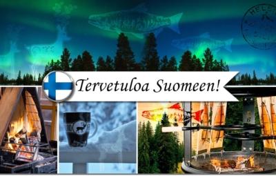 Finnische Postkarte mit Aurora Borealis, 2x Flammlachszubereitung und einer finnischen Merchandise-Tasse im Schnee