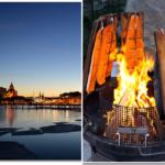 Flammlachs gerubt auf Grillkartoffeln mit Schafskäse-Spinat-Schiffchen
