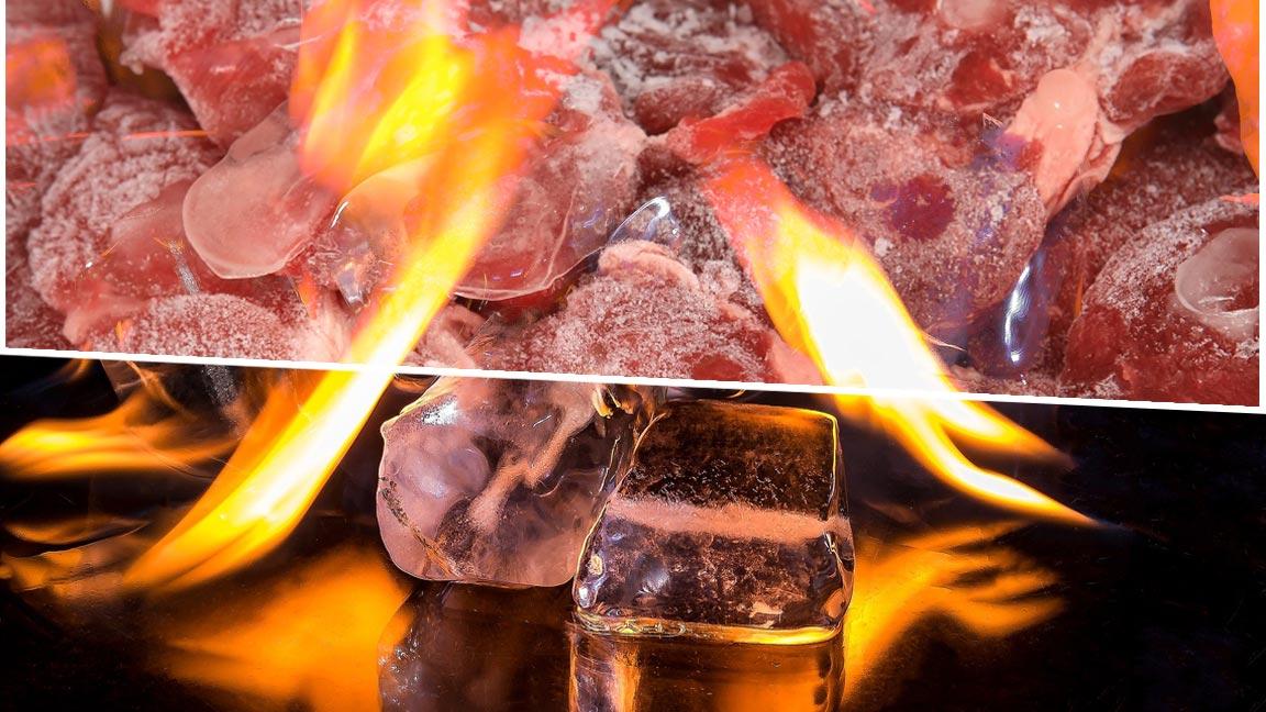 Collage auf tiefgefrorenem Fleisch und brennenden Eiswürfeln